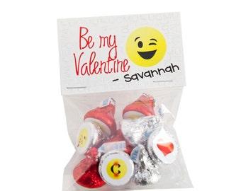 Emoji Personalized Valentine Card Sticker Kits for Hershey Kisses