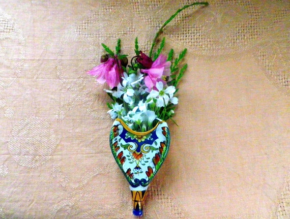 Rouen pottery miniature wall pocket or planter in the Faience style with flowers and scrolls