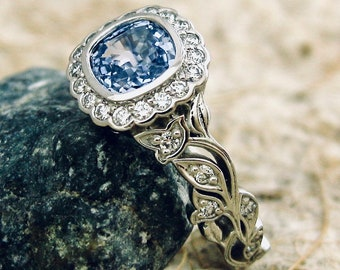 Cornflower Blue Sapphire Engagement Ring in Platinum with Diamonds in Leafs on Vine Size 6