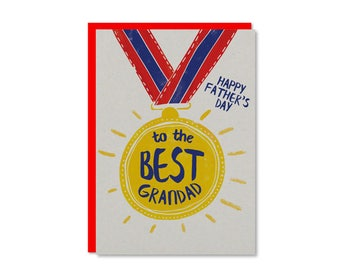 To the best Grandad | Happy Father's Day Card | Fathers Day Cards UK | Grandpa medal