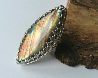 Sale Sterling silver large labradorite handmade ring, hallmarked in Edinburgh