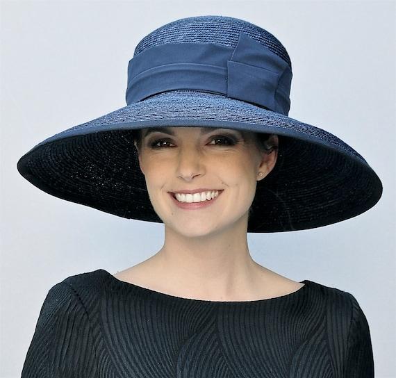 Wedding Hat, Derby Hat, Church Hat, Audrey Hepburn Hat, Ascot Hat, formal navy hat, Occasion Hat, Wide brim hat, big hat, Ladies Day Hat
