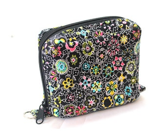 Essential Oil Roller Bottle Case ChaCha Small Flowers on Black