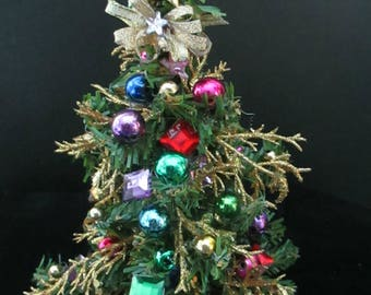 Tiny Dollhouse  Christmas Tree Sparkling and Festive-REDUCED PRICE