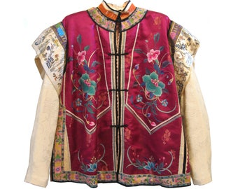 Women's embroidered silk collage jacket in magenta & ivory