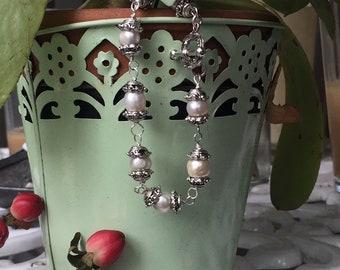 Armband: zoetwater parel en zilver