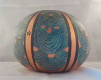 Gourd Art, Handmade Gourds, Green Gourd Bowl, Decoratied Gourds, Home Decor, Wood Burned Gourds, Painted Gourd, Original Gourd Art,