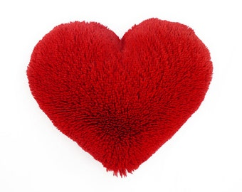 Valentine's Gift Fluffy Red Heart Shaped Decorative Pillow - Small Size