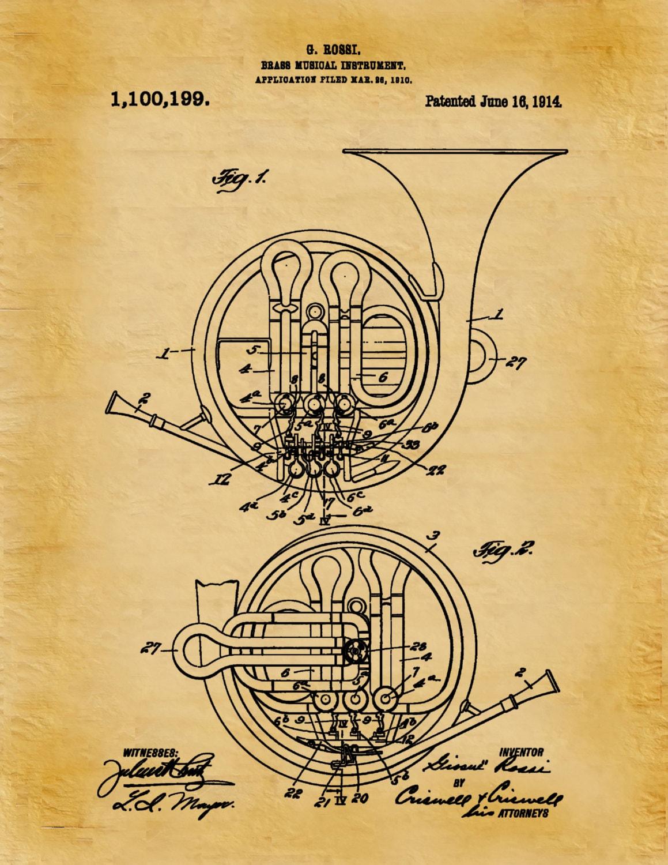 Patent 1914 French Horn Art Print - Brass Musical Instrument - Brass ...