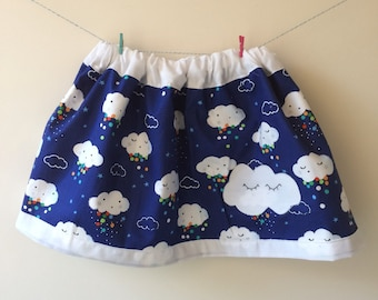 Cloud skirt, cloud clothes, cloud print, cloud gift, baby skirt, toddler skirt, girls skirt, weather skirt, weather print, raindrop print