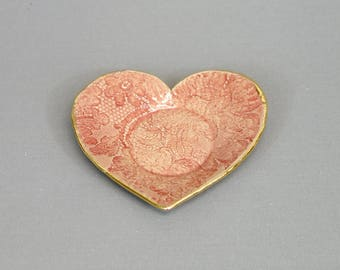 Pink Lace Heart Dish with Gold Rim - Handmade stoneware ceramic pottery Tea Light Candle Holder, Trinket Dish, Ring Bowl