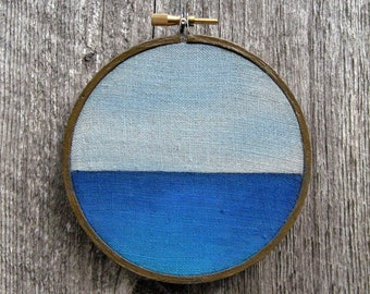 "Smooth Sailing 4"" round watercolor painting on linen"