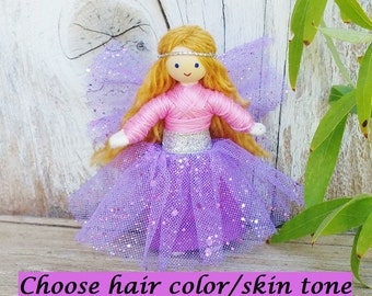 Fairy Doll, Fairy Toys, Fairy Wings Miniature Fairy Dolls, Tiny Fairy Dolls, Flower Fairy, Fairy Gift, Sparkle Fairy Lilac & Pink