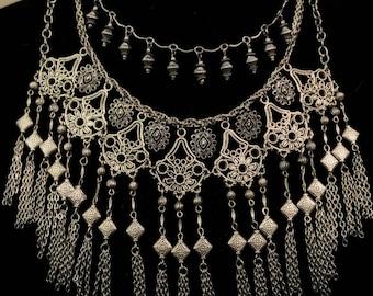 Gypsy festival silver bib fringe necklace