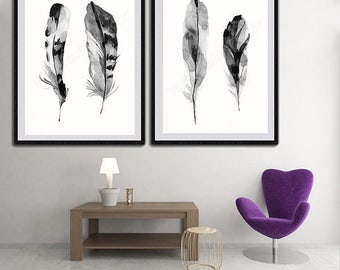 Feather Black and White Watercolor Art Prints - Set of 2 Bird Feather Wall Decor Housewarming Gift Birthday Gift Wall Hanging