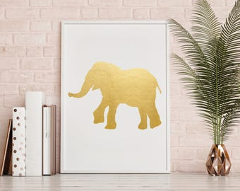 "Gold Foil Print ""Elephant"" - Gold Foil - Gold Office Home Decor - Decor - Drawing Print - Elephant Art Print - Art Print"