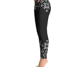 Tribal, Elvin, Cross, black and white, yoga leggings, festival leggings, womens, Leggings