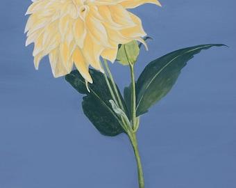 Botanical Print, Yellow Dahlia, fine art print, flower painting