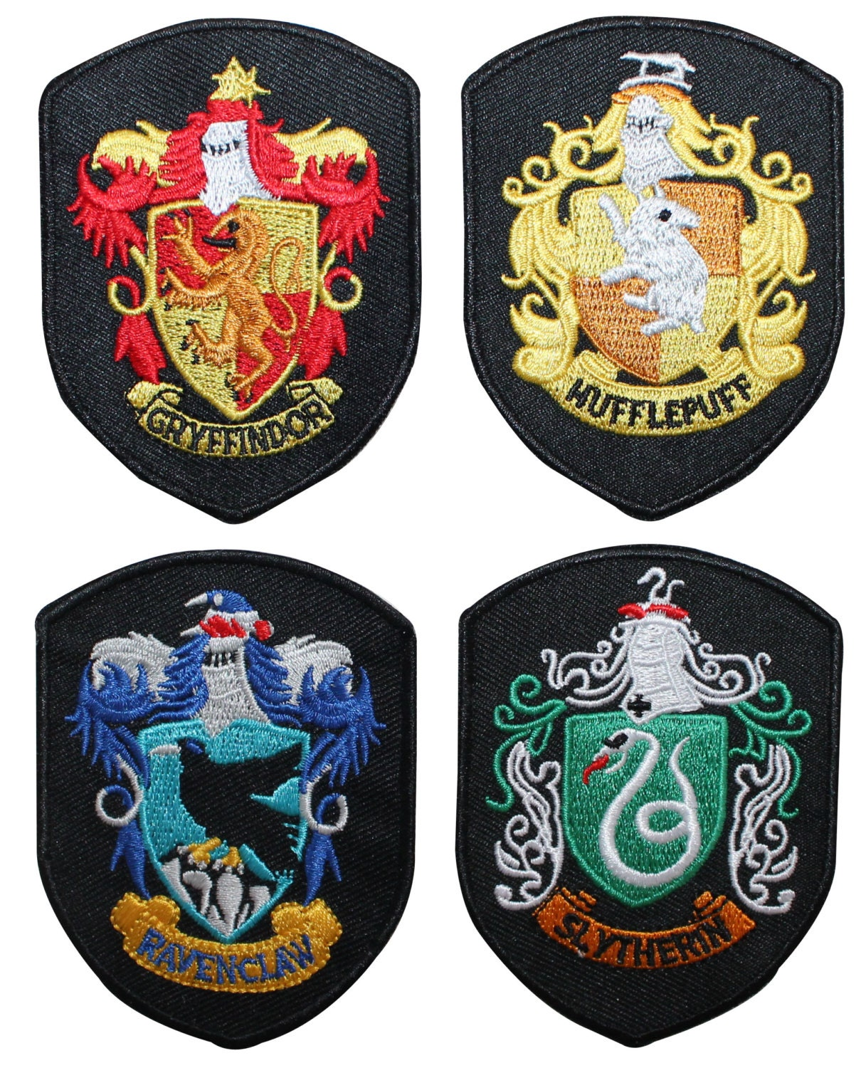 set of 4 smaller hogwarts house shields harry potter robe iron. Black Bedroom Furniture Sets. Home Design Ideas