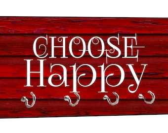 "Choose Happy - On Red Wood Print - 5"" by 11"" Key Hanger Rack - Household Decoration with Four Silvertone Hooks"