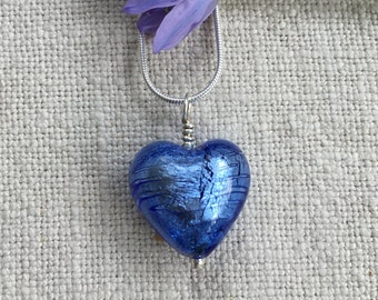 Diana Ingram necklace with cornflower blue Murano glass medium heart (18mm) pendant on 925 Sterling Silver snake chain.