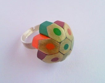 Coloured playful pencil crayon adjustable ring - fat style - little colourful mottled, dotted, spotted flower - wholesale also available