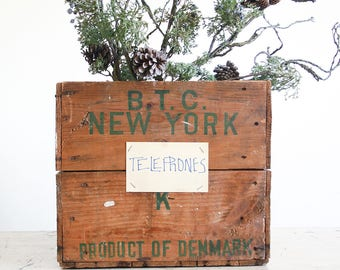 Vintage Wooden Crate / Canadian Bacon Shipping Crate / Industrial Decor / Rustic Farmhouse