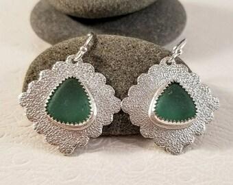 Nordic Teal Sea Glass Silver Dangle Earrings