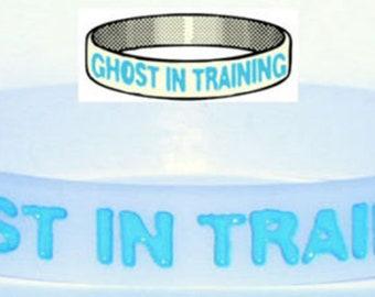 Ghost in Training Wristband Glow the Dark Death Gothic Spirit Apparition TW019