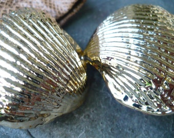VINTAGE GOLD...belt and hardware- ocean clam shell buckle-gold toned shells-suede leather