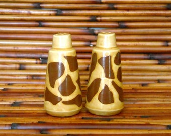 White Earthenware Ceramic Hand Made Cow Print Salt and Pepper Shaker Set