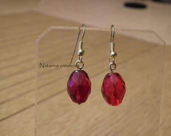 Silver metal with red bead earrings