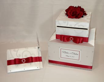 White and Red Wedding Card Box and matching Guest Book with Pen