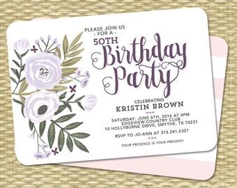 Adult Birthday Invitation Floral Invitation Adult Birthday Milestone Birthday 80th Birthday Invite