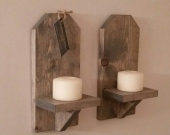 "Rustic Wood Wall Sconce (Pair) // 12"" Wall Sconce // Shelf // Wall Decor // Cottage Decor // Cabin // Candle Holder // Lodge Decor"