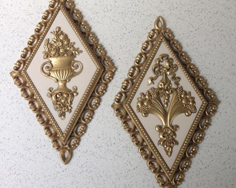 Pair of Hollywood Regency Style Homco Diamond Wall Plaques