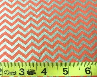 Silver and Coral Chevron Fabric - Glitter Fabric - Glitter Chevron Fabric - Small Polka Dot Fabric - Coral Fabric- Fabric Quilting Cotton