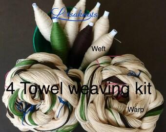Beige Weaving Kit for 4 Towels, Weaving Loom Kit, How to Weave Kit, Loom Weaving, DIY Weaving Kit, Pre-wound Warp, Handweaving