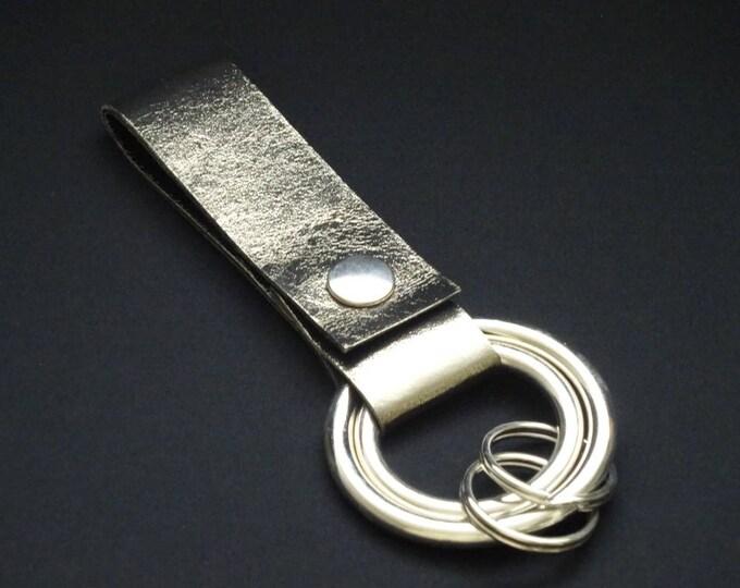 Rings-of-Fire Keyring - Dark Chrome - Genuine Kangaroo Leather Keychain for Key Keys Men Women Belt - Handmade - James Watson