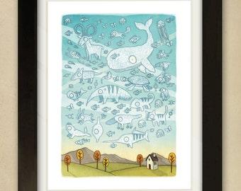 Cloudy Sky - Children's Art Print