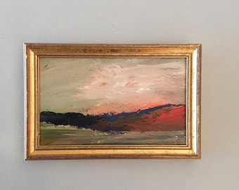 Red Cliffs  - Abstract Landscape- Original- 5 x 8  approx. inch - including Frame -  Collectible - Fine Art -Custom Framed