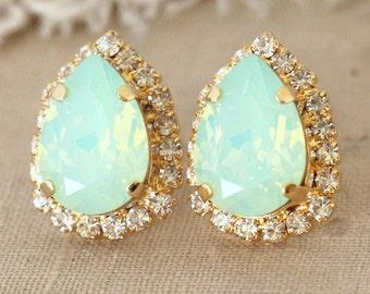 MInt Earrings, Swarovski Mint Opal Earrings, Bridesmaid Mint Earrings,Gift For her, Bridal Mint Earrings, Green Earrings, Bridesmaids Studs