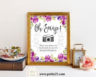 Purple Bridal Shower sign, Oh Snap, Instagram wedding sign, Watercolor Classic Elegant Wedding Invite Printable Digital, lavender freesia