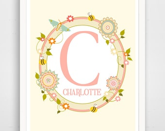 Personalized Children's Name Wall Art / Nursery Custom Name print by Finny and Zook, Pink Monogram, Pink Baby Wall Art