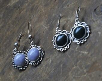 Set of two Guatemalan  Purple  Jadeita and Green Jade Earrings