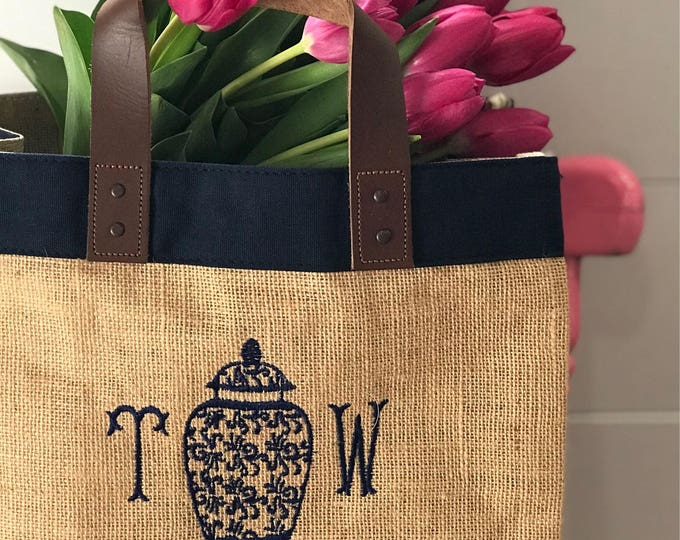 Featured listing image: Monogram Burlap Market Tote - Monogrammed Jute & Leather Tote - Monogram Grocery Tote Bag - Monogrammed Picnic Bag  Embroidered Market Tote
