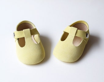 Pastel Yellow Baby Shoes, Baby Girl Shoes, Baby Girl Mary Jane T Strap, Baby Moccasins, Newborn Crib Shoes, Baby Shower Gift, Infant Shoes
