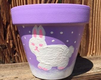 Cute bunny clay pot