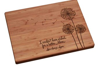Mother's Day Gift, Personalized Cutting Board, Personalized Mother's Day Gift, Mothers Day Gift, Gift for Mom, Mother's Day Dandelion Design