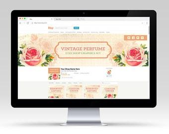 SALE Vintage Rose Perfume Shop Graphic Set | OOAK Premade & Customizable for your Business | Shop Branding Antique Floral Flower Design